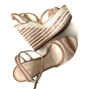 Enzo Angiolini Beige White Platform Wedge Sandals